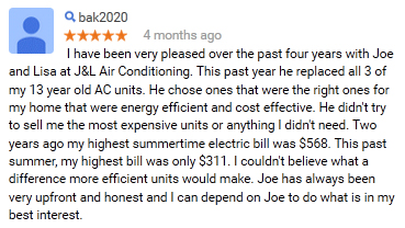 J&L Air Conditioning Review Land o Lakes FL