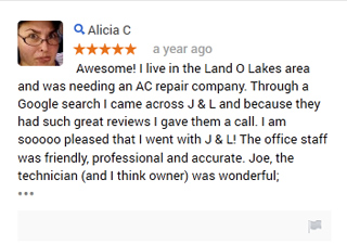 J & L Air Conditioning Google Reviews Land O Lakes